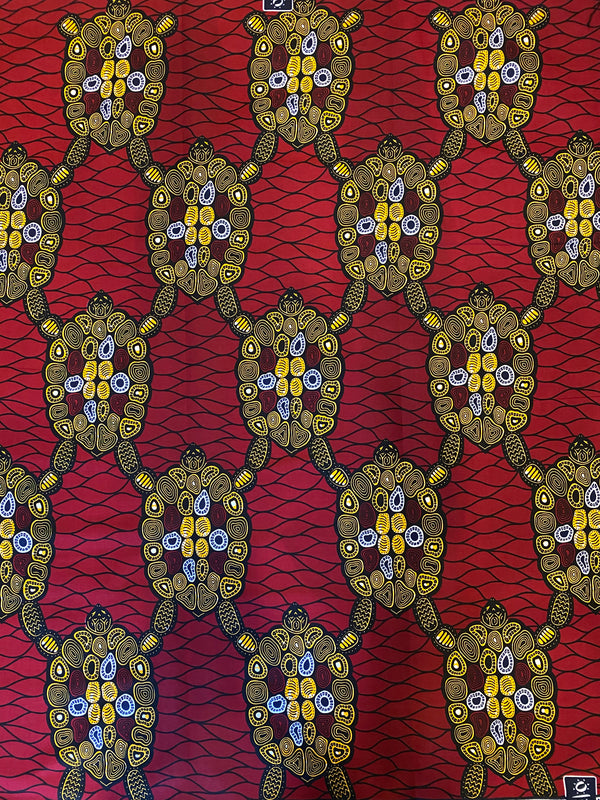 Maroon & Gold African Print Fabric