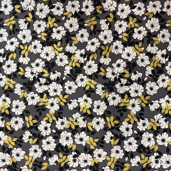 Gold Leaf Flowers Cotton Fabric