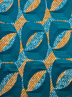 Blue and Orange African Print Fabric