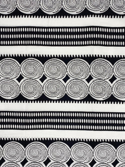 Black and White Circle African Print Fabric