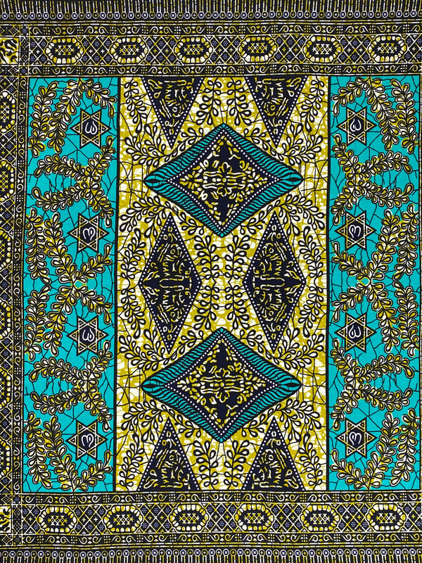 Blue and Green Circle African Print Fabric