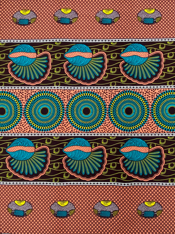 Pink and Blue African Print Fabric