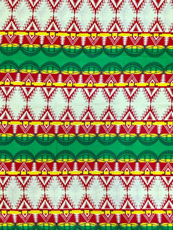 Red, Green and Yellow African Print Fabric