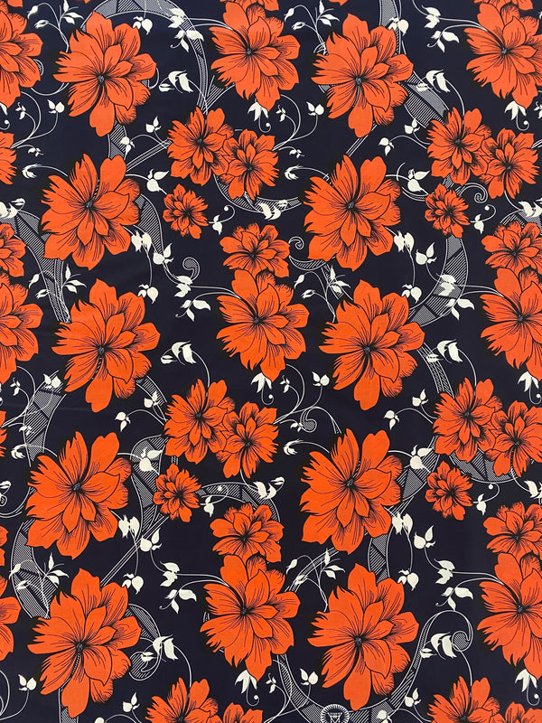 Orange Floral African Fabric