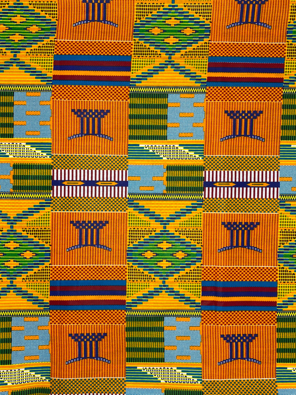 Orange Kente African Print Fabric