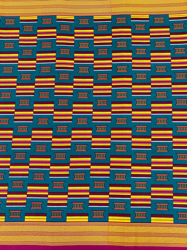 Teal and Pink Stool Kente