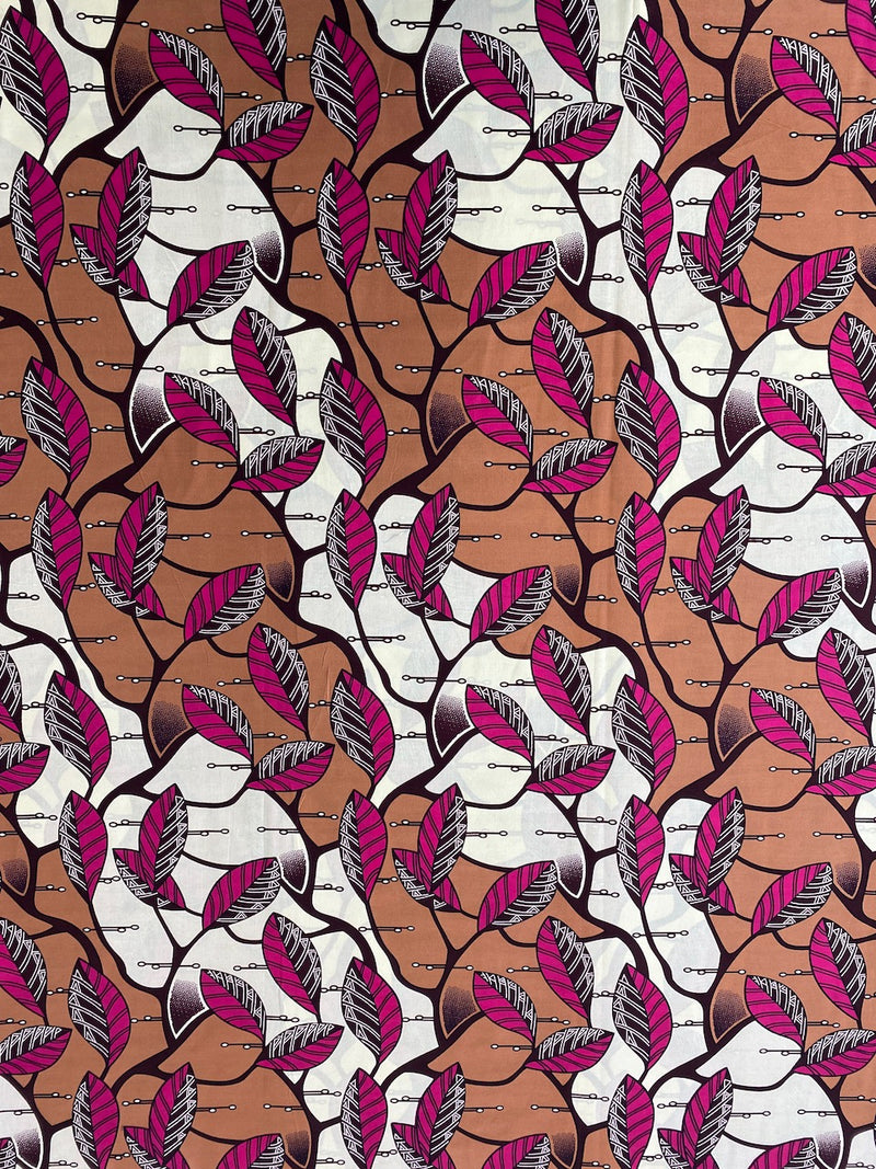 Pink Leaves African Print
