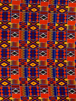 Blue and Red Orange Kente