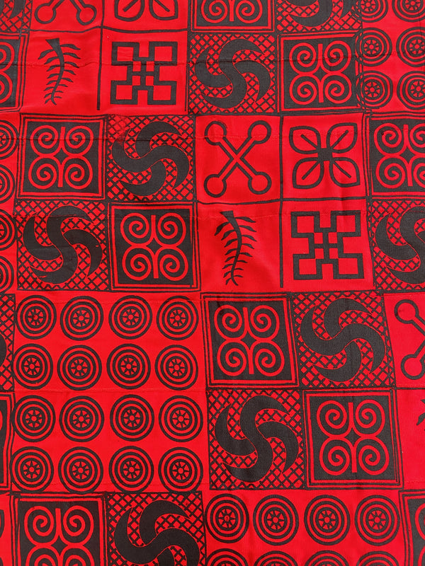 Red and Black Adinkra Cloth