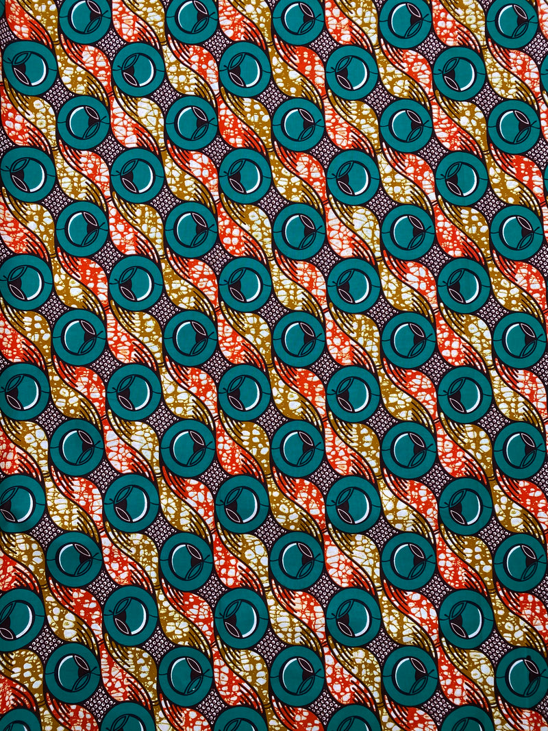 Blue circles African Print Fabric