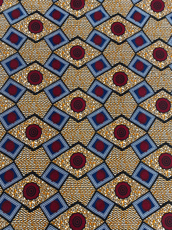 Red Geometric African Fabric