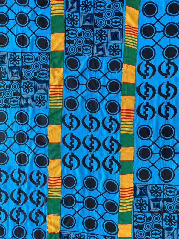 Turquoise Adinkra and Kente Cloth