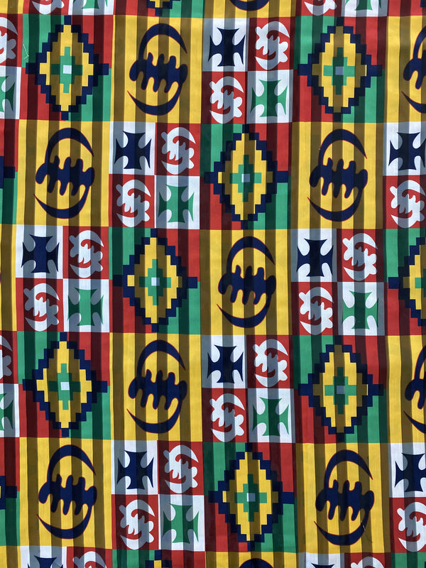 Sheer Striped Adinkra Print