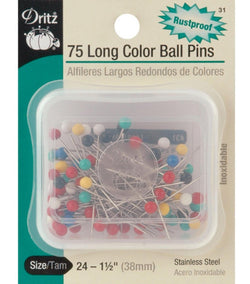 Dritz Long Color Ball Pins 75 pieces