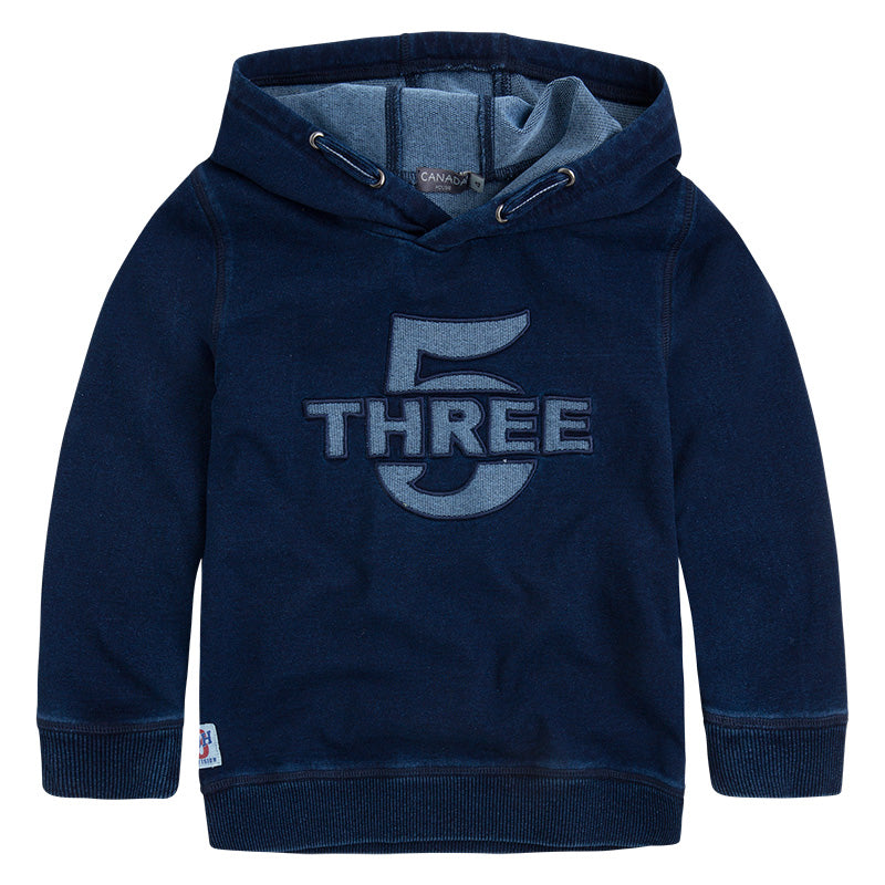 Sweatshirt from the Canada House Children's Clothing line in jeans type hooded fabric   and be...