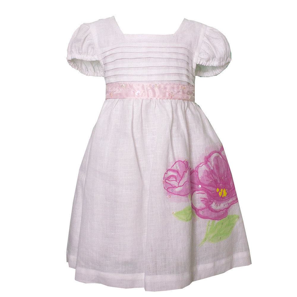 Linen dress from the Mirtillo children's clothing line. Neckline with pleating;   balloon mann...