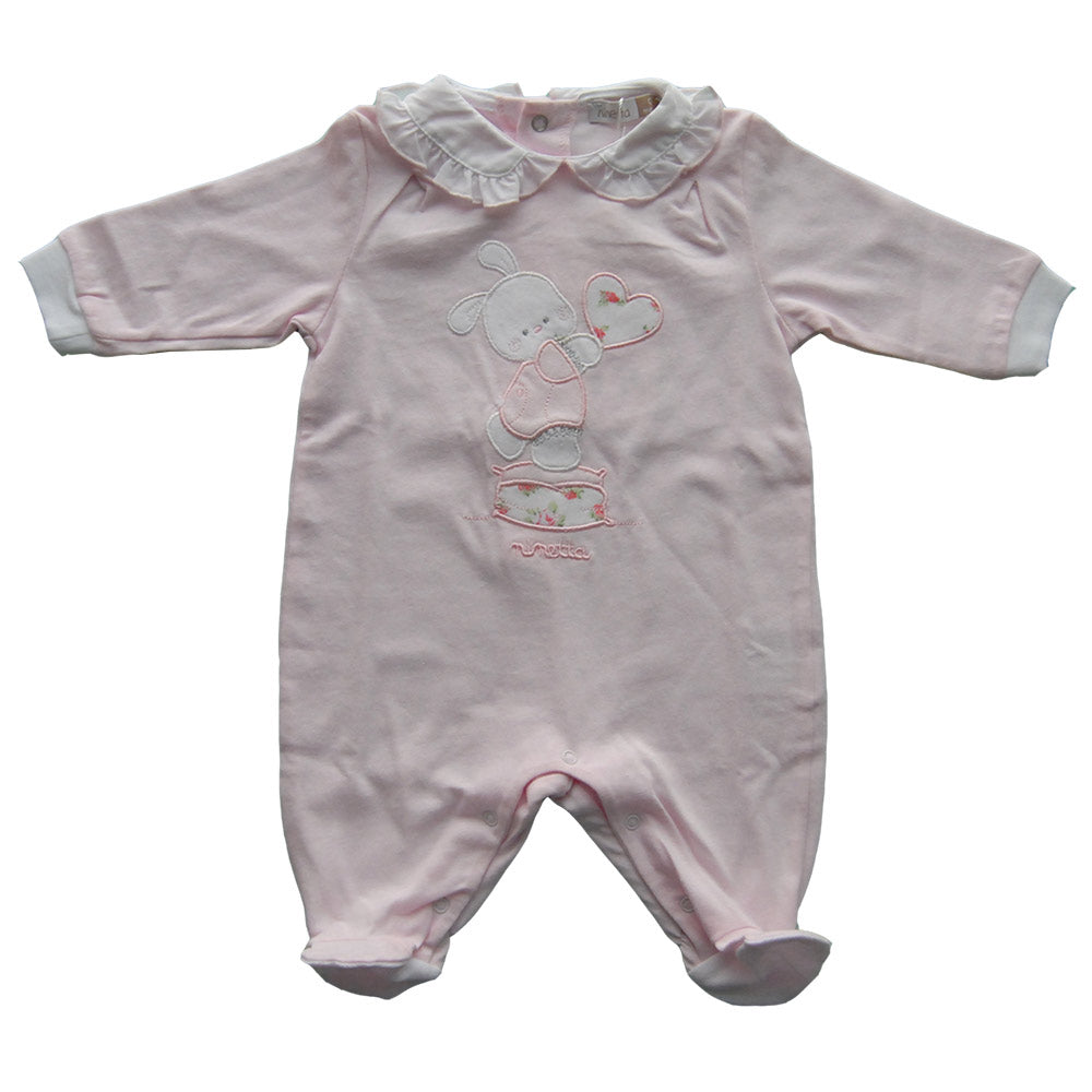 Baby footsuit from the Ninetta clothing line. Solid colour with application   fabric on the fr...