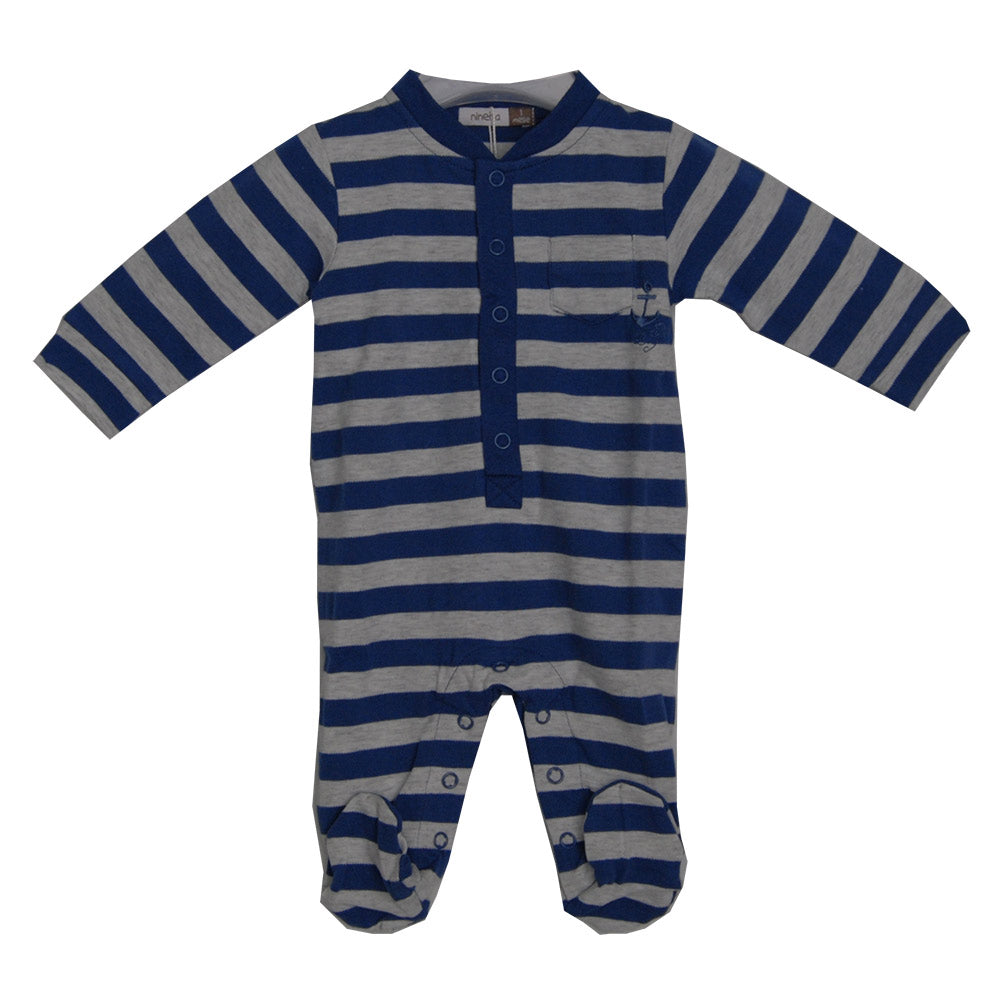 Baby clothing line children's romper with feet from the Ninetta clothing line. Mixed striped p...