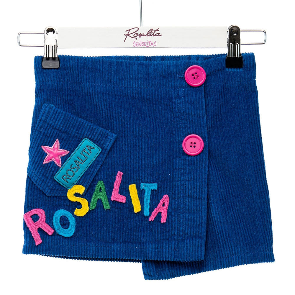 Striped velvet skirt from the Rosalita Senoritas girl's clothing line, with coloured embroidery o...