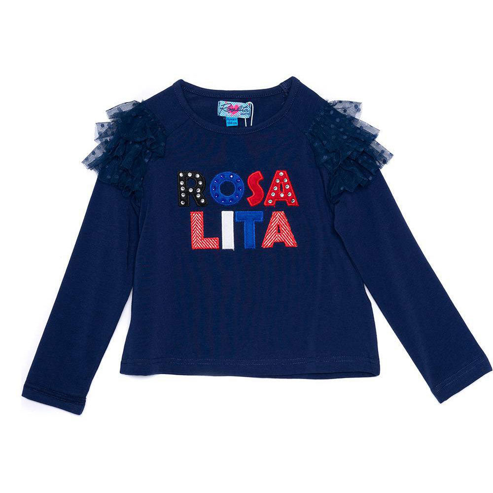Round neck cotton T-shirt from the Rosalita Senoritas Girl's Clothing Line   with long sleeves...