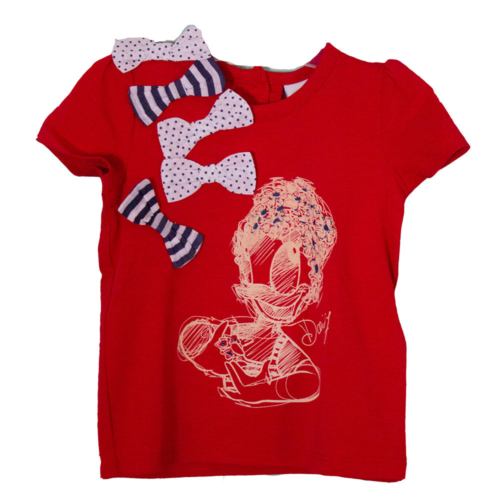 T-shirts from the Silvian Heach Kids clothing line; solid-colour with   print and bows in stri...