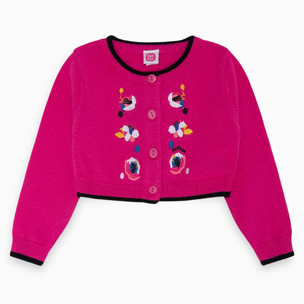 Cardigan from the Tuc Tuc girl's clothing line, with multicolor embroidery on the front   and ...