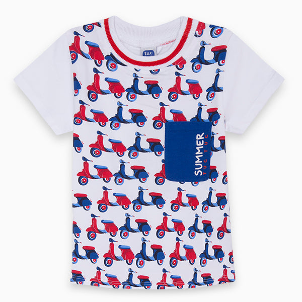 T-shirts from the children's clothing line Tuc Tuc, with colourful wasp patterns   on the fron...