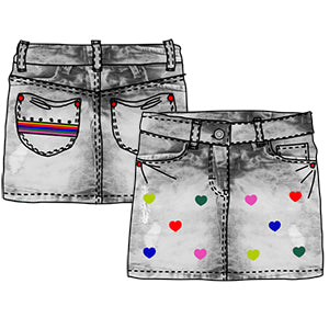 Little skirt in jeans from the Tuc Tuc girl's clothing line, with multicolor embroidery   on t...