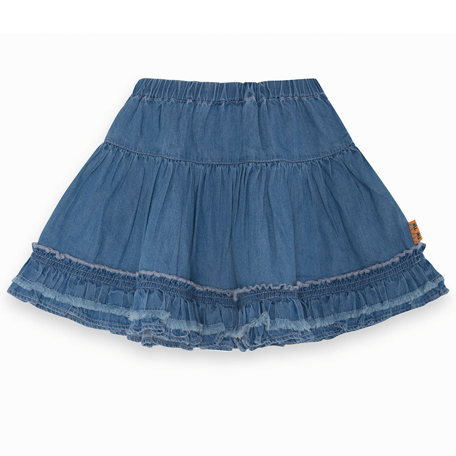 Girl's Tuc Tuc clothing line skirt in jeans, with a wide flounce on the   bottom.      Composi...