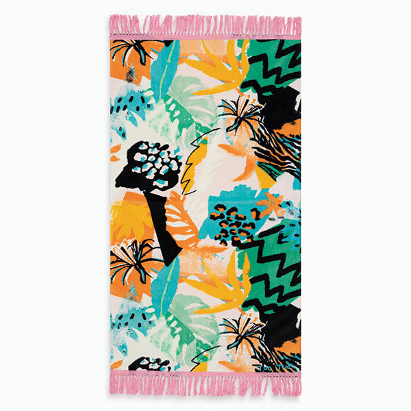 Beach towel from the Tuc Tuc baby girl clothing line, with tropical fantasy in colours   on, a...