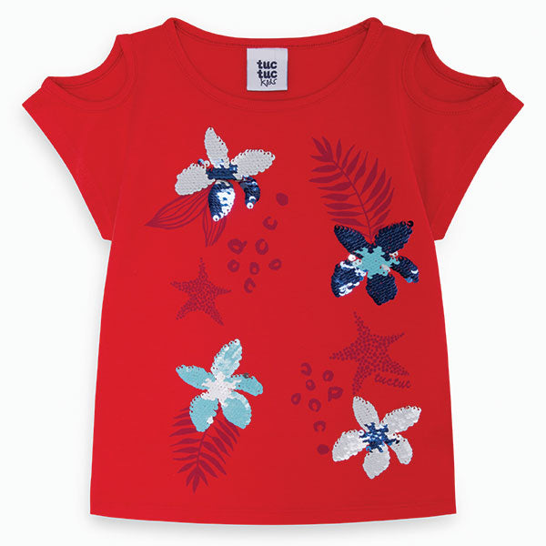 Tuc Tuc girl's clothing line t-shirt with contrasting print on front   in color and sequins.  ...