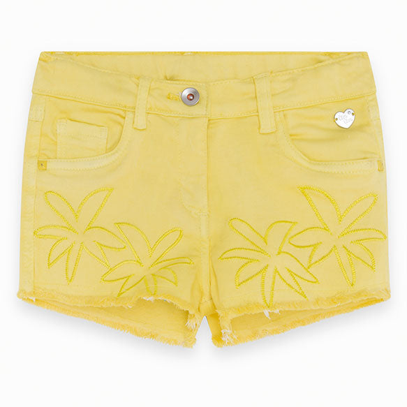 Denim shorts from the Tuc Tuc girl's clothing line, with fray on the bottom   and embroidery o...
