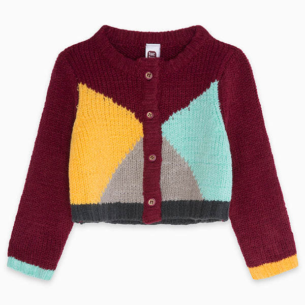Cardigan from the Tuc Tuc Girl's Clothing Line with multicoloured workmanship.