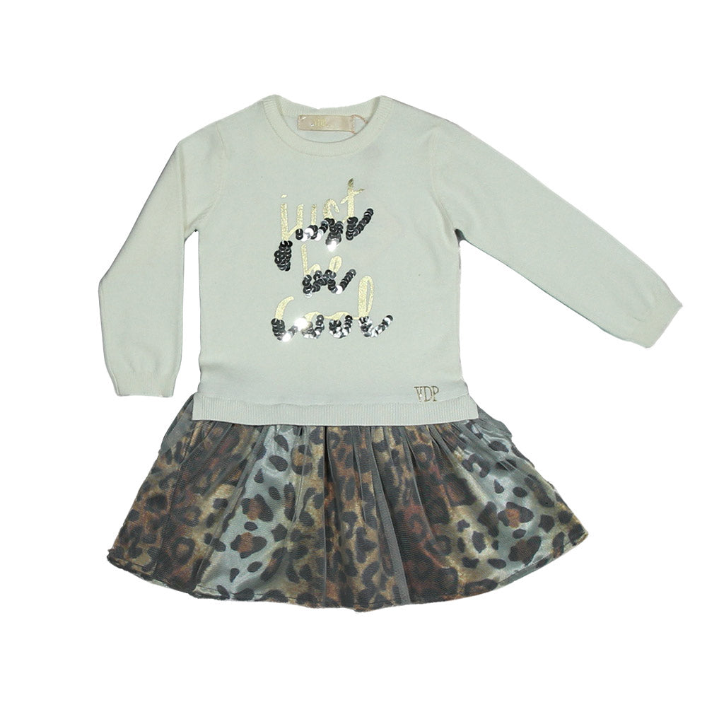 Dress of the Via Delle Perle girl clothing line. Soft upper part   fabric, solid colour with g...