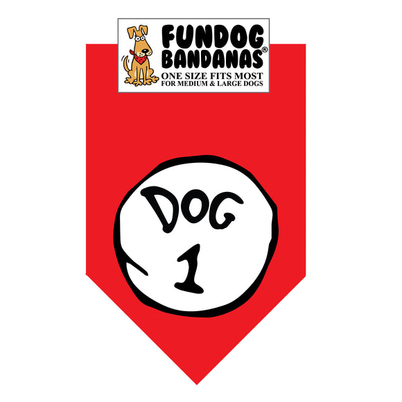 Red one size fits most dog bandana with Dog 1 in white circle and black outline.
