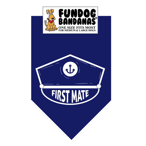 Navy Blue one size fits most dog bandana with First Mate and captain's hat in white ink.