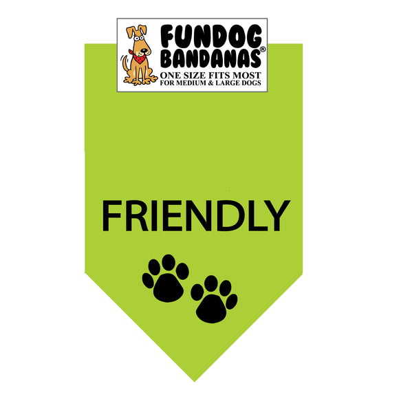 Lime Green one size fits most dog bandana with Friendly and two paws in black ink.