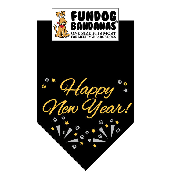 Black one size fits most dog bandana with Happy New Year and confetti in gold and silver metallic ink.