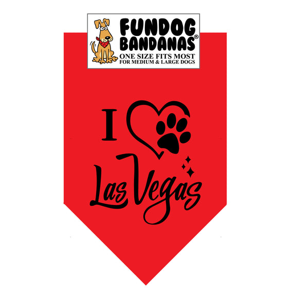 Red one size fits most dog bandana with I Heart Las Vegas and a paw within a heart in black ink.