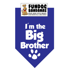 Wholesale 10 Pack - I'm the Big Brother Bandana - Assorted Colors - FunDogBandanas