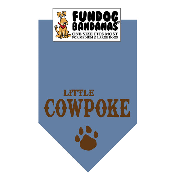 Chambray one size fits most dog bandana with Little Cowpoke and a paw in brown ink.
