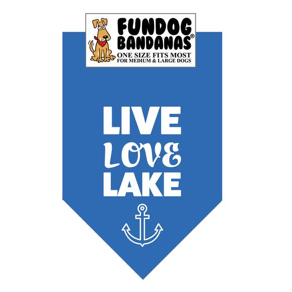 Mirage Blue one size fits most dog bandana with Live Love Lake in white ink.