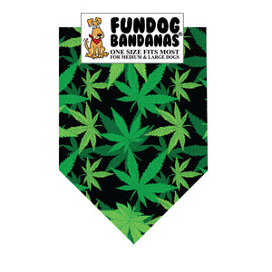 Wholesale 10 Pack - Marijuana Leaf Bandana / Black with Green Leaves - FunDogBandanas