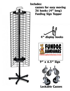 Grid Panel Spinning Display - 3 sided (bandanas sold separately) - FunDogBandanas