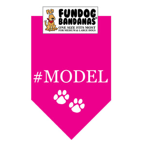 Hot Pink one size fits most dog bandana with #model in white ink.