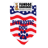 An american flag one size fits most dog bandana with Patriotic Dog and a paw in navy blue ink.