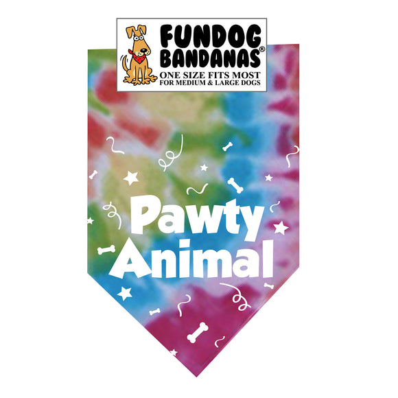 Brightly colored tie dye one size fits most dog bandana with Pawty Animal and confetti in white ink.
