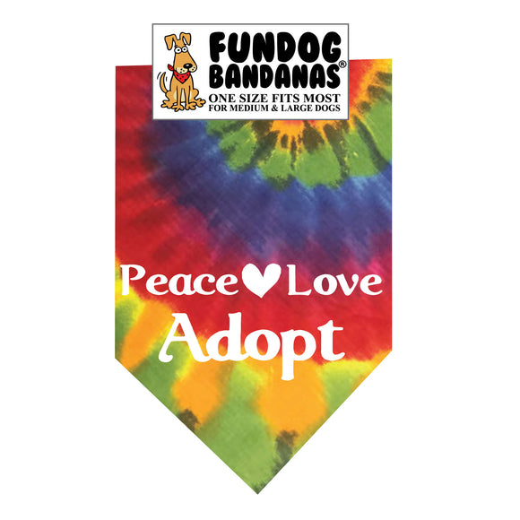 Wholesale 10 Pack - Peace Love Adopt Dog Bandana - Tie Dye Only - FunDogBandanas
