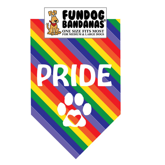 Rainbow one size fits most dog bandana with Pride and a heart within a paw in white ink.