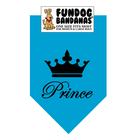 Turquoise one size fits most dog bandana with Prince and crown in black ink.